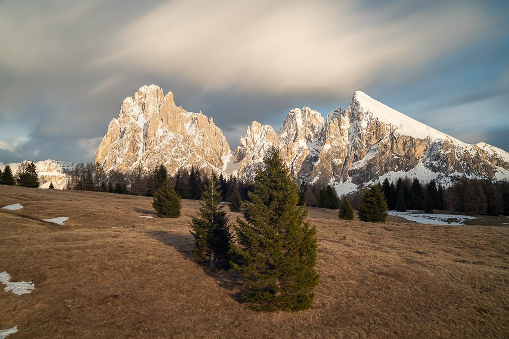 fir trees - forest - mountains - winter - sunset - dolomites - italy - seiser alm - landscape photography - romanian photographer - creartphoto